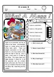 English Worksheet: RC Series LEVEL 2_03 What A Mess (Fully Editable + Answer Key)