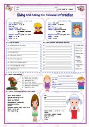 English Worksheet: GIVING AND ASKING FOR PERSONAL INFORMATION (2 Worksheets )