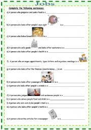 English worksheet: JObs – What do they do?