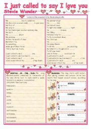 English Worksheet: I JUST CALLED TO SAY I LOVE YOU - song and activities