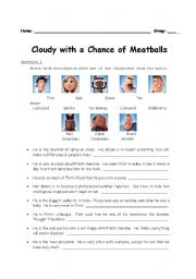 English Worksheets: Movie : Cloudy with a Chance of Meatballs (1 of 2)
