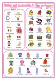 English Worksheet: Clothes and accessories 3: a pictionary (editable)