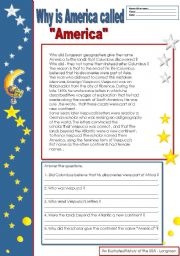English Worksheet: Why is America called