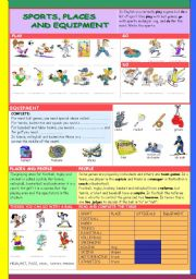 English Worksheet: SPORTS, PLACES AND EQUIPMENT (with KEY)