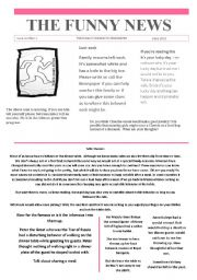 English Worksheet:  1 Funny newspaper issue