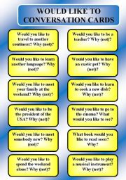 English Worksheet: would like to - conversation cards (B/W, editable)