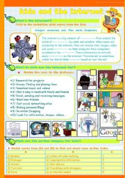 English Worksheets: kids and the internet  set (part1)/ (3pages)