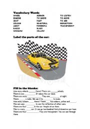 English worksheet: There is/there are for Car Fans
