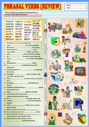 English Worksheet: Phrasal verbs (review) + KEY