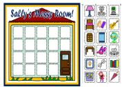 English Worksheet: SALLY�S MESSY ROOM - PLACE PREPOSITIONS BOARD GAME (PART3)