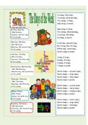 English Worksheet: Exercises for Bill Martin, Jr�s Picturebook Poem Monday, Monday I like Monday!