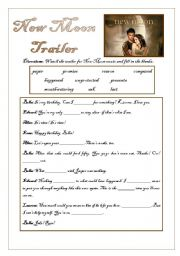 New Moon Trailer Activities - With Answer Keys for teachers!!!