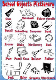 English Worksheet: School objects Pictionary
