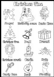 english worksheet christmas time vocabulary