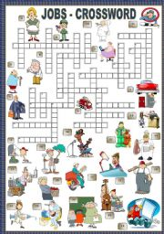 English Worksheet: JOBS - CROSSWORD