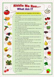 english worksheets fruits and vegetables riddles. Black Bedroom Furniture Sets. Home Design Ideas