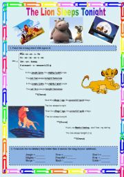 English Worksheets: SONG: The lion sleeps tonight.