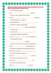 English Worksheet: Rewriting for PET exam