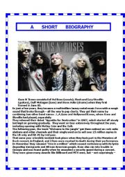 English Worksheet: Guns n Roses bio