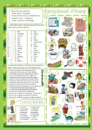English Worksheet: Compound Nouns(+ Key)