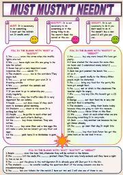 English Worksheet: MUST MUSTN´T NEEDN´T