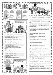 English Worksheet: 6 PAGES!!!!!!MIXED ACTIVITIES: CONDITIONALS,  WORD FORMATION, REPORTED SPEECH, PASSIVE VOICE, REPHRASING, PREPOSITION EXERCISES, GIVE SYNONYMS AND OPPOSITES, REORDER WORDS TO FORM SENTENCES, FILL IN THE GAPS WITH THE MOST APPROPRIATE VERB TENSE
