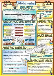 English Worksheet: Modal verbs: Must and Have to 1 of 2