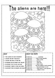 English Worksheet: THE ALIENS ARE HERE!!!