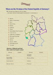 English Worksheet: The 16 states in Germany