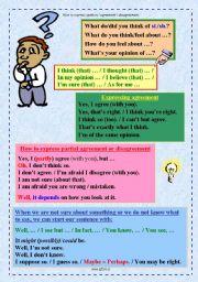 English Worksheet: Expressing opinion, agreement or disagreement - OLD version