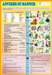 English Worksheet: Adverbs of manner + KEY