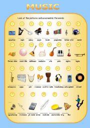English Worksheet: Musical words