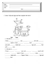 English Worksheets: Tally and Lippy