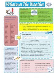 English Worksheets: WEATHER - POEMS, TEXTS,EXERCISES