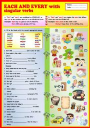 English Worksheets: Each and Every with singular verbs + KEY