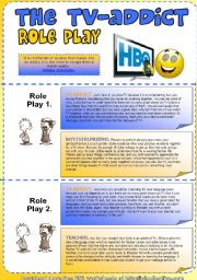 English Worksheet: TV Addict Role Play