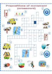 English Worksheet: Prepositions of movement, a crossword