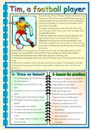 football reading comprehension worksheets pdf