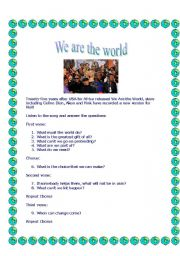 English Worksheets: We are the world for Haiti