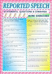 REPORTED SPEECH 3 -MORE EXERCISES-