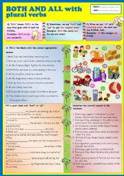 English Worksheet: Both and All with plural verbs + KEY
