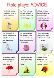 English Worksheets: Role plays ADVICE