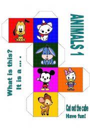 English Worksheets: LOVELY ANIMALS CUBE 1