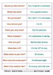 English Worksheets: easy but tricky questions / classroom fun activity
