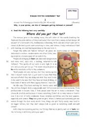 English Worksheet: Test 10th grade students