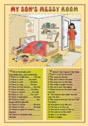 English Worksheets: My son�s messy room