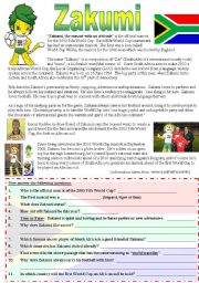 English Worksheet: Fifa World Cup  Comprehension with Key