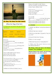 English Worksheet: SONG - THE HANDS THAT BUILT AMERICA-U2