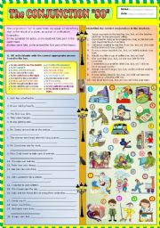 English Worksheets: The Conjunction