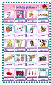 English Worksheet: BIRTHDAY PICTIONARY